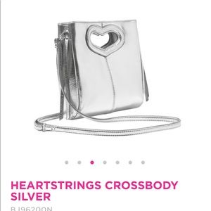 Betsey Johnson Bags - Heartstrings silver crossbody purse